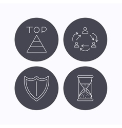 Teamwork shield and top pyramid icons vector