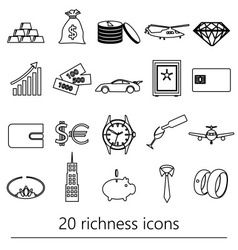 Richness and money theme black outline icons set vector