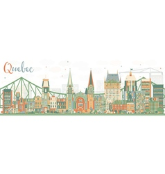 Abstract quebec skyline with color buildings vector