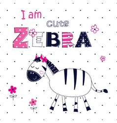 Background with cute zebra vector image vector image