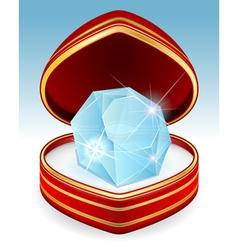 big brilliant diamond in gift box vector image
