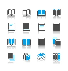 Book icons reflection vector image