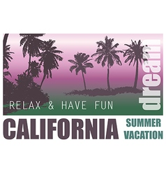 California dream palm background vector