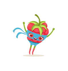 Cartoon character of superhero raspberry with vector