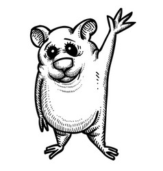 Cartoon image of waving hamster vector