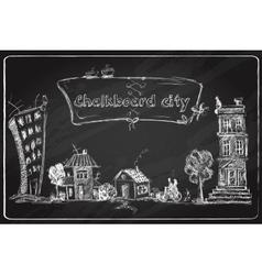 Chalkboard city doodle vector