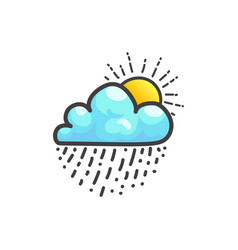 Cloud with rain drops and shining sun icon vector