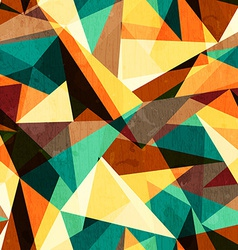 colored triangle seamless texture with wood effect vector image