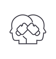 conflict boxing in heads line vector image