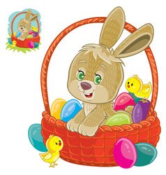 Easter bunny sitting in a basket for easter vector
