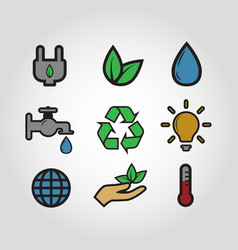 Ecology icon set vintage style colorful vector