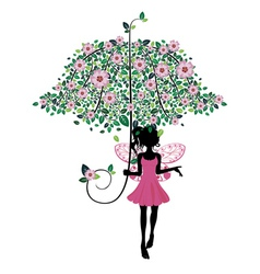 Fairy with Floral Umbrella2 vector image vector image