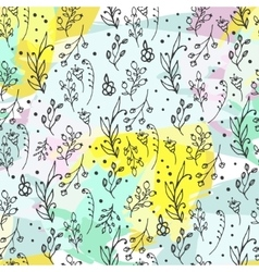 Floral seamless pattern herbs and wild flowers vector