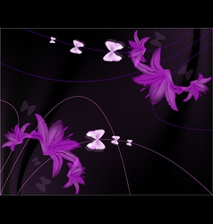 Glowing lily flowers with florals elements and gru vector image