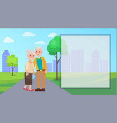 Grandma and grandpa in city park vector