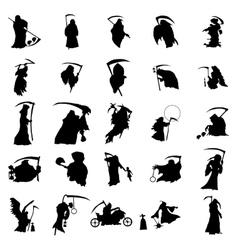 Grim reaper silhouette set vector