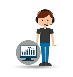 Guy operator help service computer statistics vector