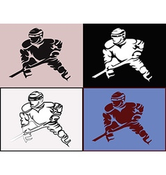 Hockey Player in Movement Mascot Silhouettes vector image