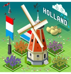 Isometric holland barn - windmill building vector