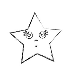 Line kawaii thinking and cute star design vector