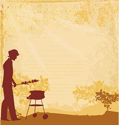 Man silhouette cooking on his barbecue invitation vector