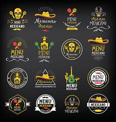 Menu mexican logo and badge design vector