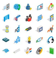 Merchant icons set isometric style vector