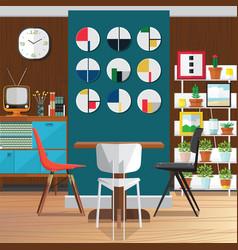 Modern dining room interior decorating ideas vector