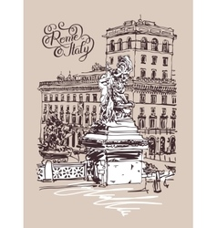 Original freehand sketch travel card from rome vector