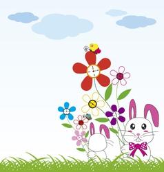 Rabbit holds flowers vector
