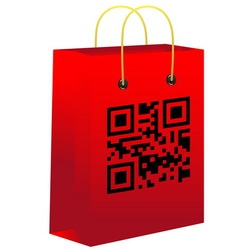 Red shopping bar with qr code vector image vector image