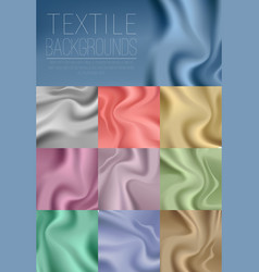 Textile drapery colorful collection in blue vector