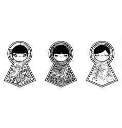 Three geometric babushka matryoshka dolls vector image