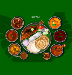Traditional keralite cuisine and food meal thali vector