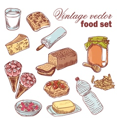 Vintage hand-drawn food set vector image vector image