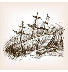 Wrecked ancient sailing ship sketch vector image