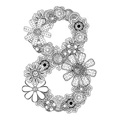 Hand drawn floral number 8 vector