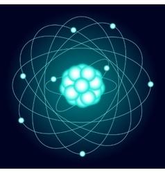 Illuminated model of an oxygen atom on a dark vector