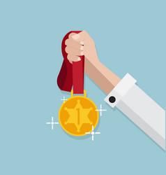 gold medal hold in hand vector image
