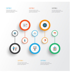 Business flat icons set collection of presenting vector