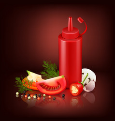 Realistic ketchubackground with red plastic bottle vector