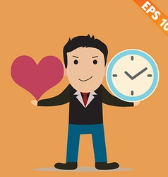 Cartoon businessman with time to love - - ep vector