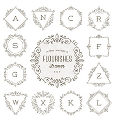 Set of flourishes calligraphic ornament frames vector