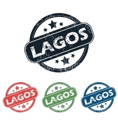 Round lagos city stamp set vector