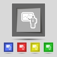 Businessman making report icon sign on original vector