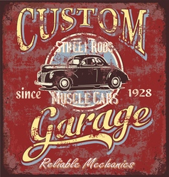 Custom street rod garage vector