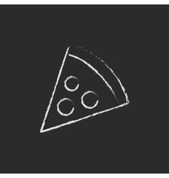 Pizza slice icon drawn in chalk vector