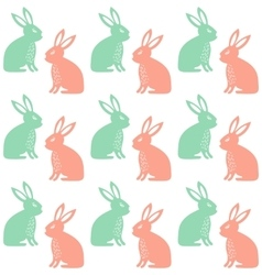 Easter seamless pattern with cute rabbits vector