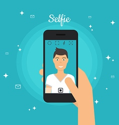 Man Taking Selfie Photo on Smart Phone Self vector image