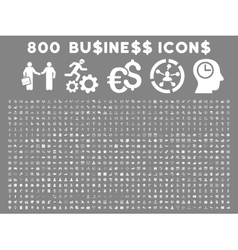 800 Flat Business Icons vector image